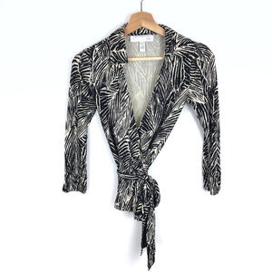Vintage DVF Zebra Print Silk Wrap Top